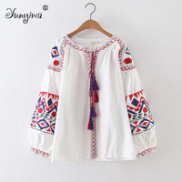 Women's Red Embroidered Short Lace Long Sleeve Shirt Women's