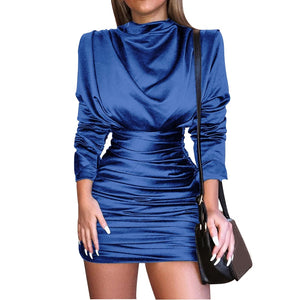 Women Bodycon Party Dresses 2018 Elegant Black Satin Dress Long Sleeve Turtleneck Ruched Mini Dress Clubwear