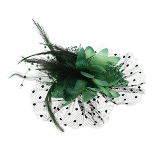 Women Bridal Hair Decoration Mesh Bow Feather Beads Wedding Fascinator Dot Veil Hair Clip Brooch