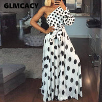 Women Casual Polka Dot Printed Dress Summer Sexy One Shoulder Long Sleeve Long Maxi Dress Elegant Party Club Sashes Vestidos