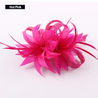 Women Chic Fascinator Hat Cocktail Brooch Wedding Headpiece Church Headwear Party Feather Hair Accessories Sinamay Fascinators