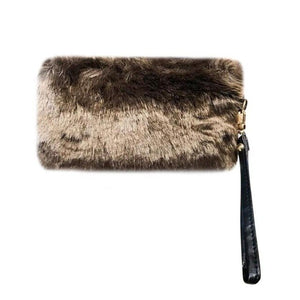 Women Clutch Winter New Faux Fur Rabbit Hair Clutch Casual Purse Solid Pencil Case Pen Bags Makeup Bag Bolsas Mujer Female Bag