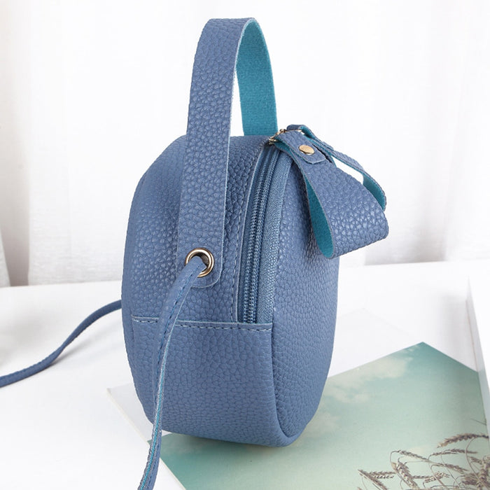Women Cute PU Leather Mini Round Casual Sling Exquisite Zipper Closure Crossbody Handbags Messenger Bag Leisure Shoulder Tote