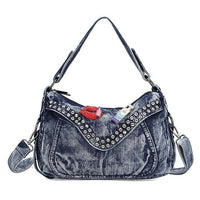 Women Denim Bag Designer Leisure Blue  Jeans Shoulder Bag Laides Fashion Totes Bag Casual Rivets Messenger Bags
