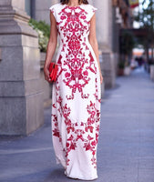 Flower Dress Sleeveless Beach Long Maxi Dress Floor Length Wedding Evening Party
