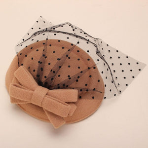 Women Fascinator Bowknot Hairclip Beret Hair Pillbox Hat Veil Cocktail Party Vintage Woolen Mesh Hairgrips Wedding Hairband