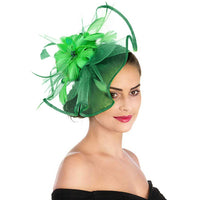 Women Fascinator Hat Feather Mesh Net Veil Party Hat Flower Derby Hat Headwear with Clip and Hairbands Bezel Hair Accessories