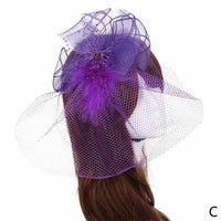 Women Fascinator Veil Hair Accessories Feather Flower Bead Cocktail Party Hair Clip Elegant Vintage Fancy Hair Bands Hoop