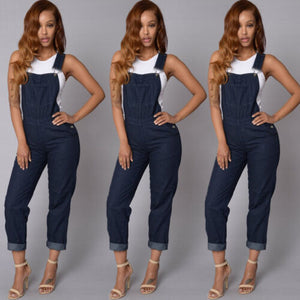 Women Fashion Denim Jumpsuit Romper Long Trousers Overalls Straps Jumpsuit Autumn Feme Casual Loose Trousers