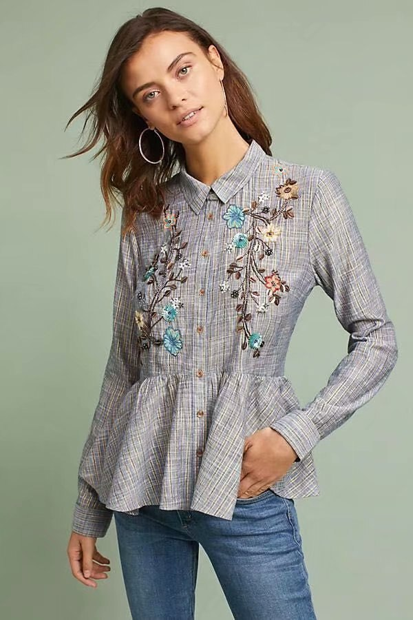 Women Floral Embroidered Tops Shirt with Pleated Hem In Plaid 2019 Spring New Arrivals