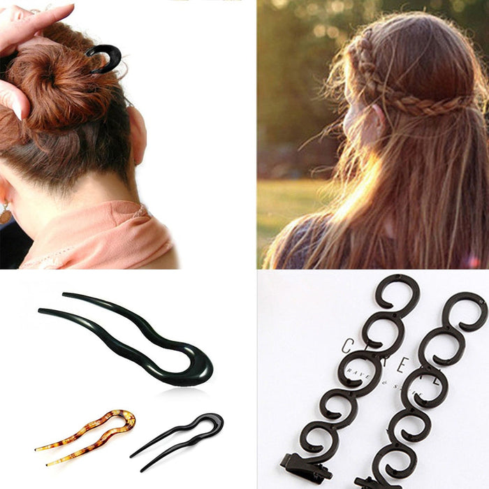 Women French Hair Braiding Braider Magic Hair Clip Forks Hairpins Stylist Queue Twist Plait DIY Hairstyle Styling Accessories