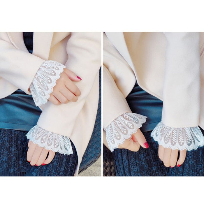 Women Girls Fake Flare Sleeves Floral Lace Pleated Ruched False Cuffs Sweater