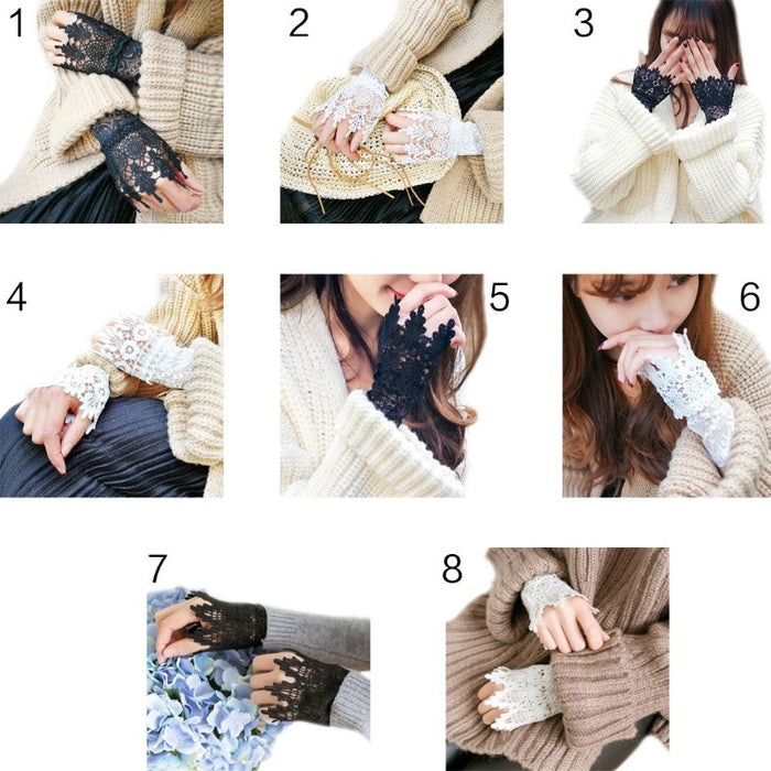 Women Girls Korean Style Fake Sleeves Cuffs Hollow Out Embroidered