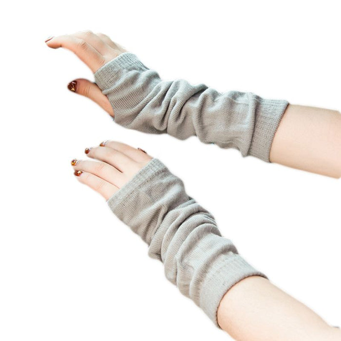 Women Girls Winter Ribbed Knitted Fingerless Gloves Ruched Solid Color