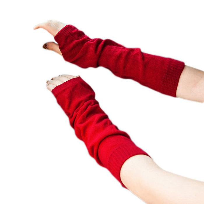 Women Girls Winter Ribbed Knitted Fingerless Gloves Ruched Solid Color Elbow