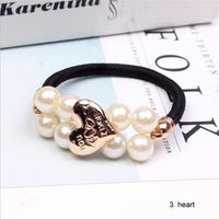 Women Hair Accessories Pearls Beads Headbands Ponytail Holder