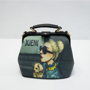 Women Handbag Leather Bag Women Shoulder Bag Doctor Small Crossbody Handbag Cartoon Pattern Rivets Girls Fashion Women Bags
