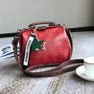 Women Handbag Leather Shoulder Bag Female Doctor Crossbody Handbag Star Pendant Tassel Rivets Casual Famous Brand Women Bags