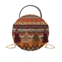 Women Ins super fire national wind portable chain small round bag tassel packet Japan Korean style elegant women's bag hot Mar 7