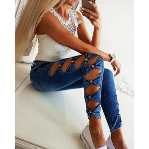 Women Jeans Casual Hollow Out Bow High Waist Jeans modis Washed Denim Blue Slim Fit Skinny Jeans Woman Streetwear jean femme H40