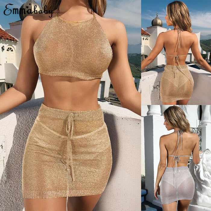 Women Knitted Beach Cover up Sexy 2 Piece Bodycon Crop Top and Skirt Bikini Set Lace Up Skirts Summer Beachwear