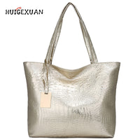 Women Large Capacity Handbags Soft PU Leather Crocodile Bag Ladies Casual Shopping Tote Bags Shoulder Bags Sac Main Silver Gold