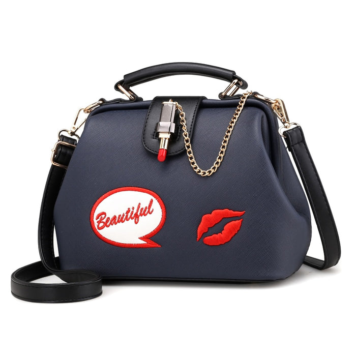 Women Leather Embroidery Handbags Girl Shoulder Bags Messenger Bag Female Totes Braccialini Style Art Cartoon Lipstick Lock