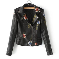 Long Sleeve Embroidered Studded Zipper Slim Crop Jacket Motorcycles Jackets Coats Autumn