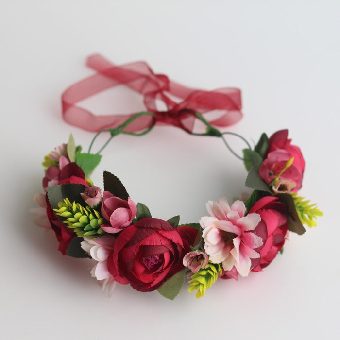 Women Like Red Flower Head Wreath Headwear Hair Accessories Girls Garland