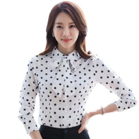Women Long Sleeve Blouses Office Slim Female Casual Autumn Wear Turn-down Collar Bow Shirt Lady Tops White Black Size S-4XL