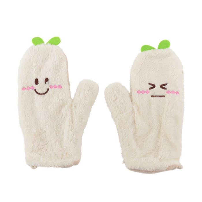 Women Lovely Full Finger Glove Cartoon Green Leaf Pattern Mittens