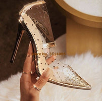 Women Luxurious Stiletto Heels Pointed Toe Clear PVC Shoes Bling Bling Crystal Wedding Pumps See Through Sexy Evening Shoes