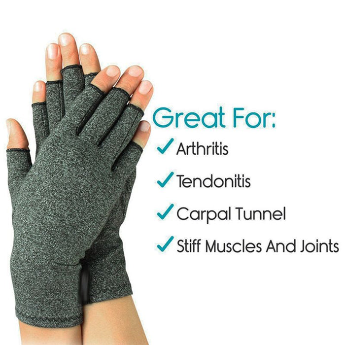 Women Men Hands Arthritis Gloves Fingerless Half Finger Therapeuti