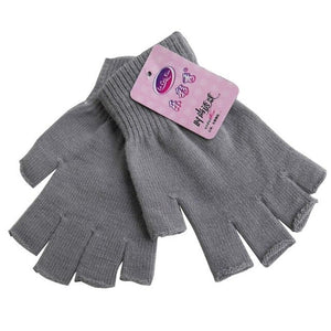 Women Men Unisex Knitted Stretch Half Finger Fingerless Short Gloves