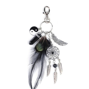 Women Natural Boho Feather Dreamcatcher Keychain Women Charm Trinket  Silver Boho Jewelry Gift Feather Leaf Car Keyring #1011
