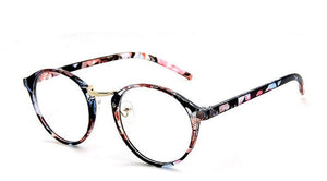 Women Optical Round Glasses Frame Retro Clear lens fake Glasses Myopia Eyeglasses  Frames  Men's Flower Frames