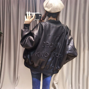 Leather Locomotive Jacket Autumn Winter New Behind Letters