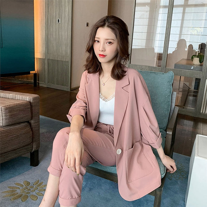Women Pant Suits Solid Lantern Sleeve Single Breasted Blazer High Elastic Waist Wide Leg Pants Casual Pink Beige 2 Piece Set