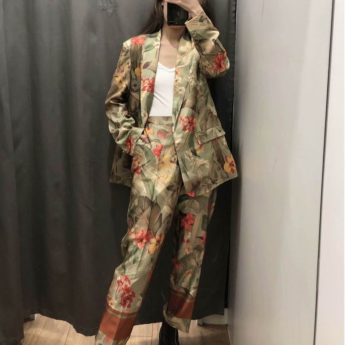 Women Pant Suits Spring 2019 New Fashion Floral Prints Clothing Modern Lady's Casual Blaze and Mid-Calf Pants