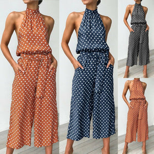 Women Polka Dot Jumpsuit Females Romper Loose Romper Bodycon Playsuit Ladies Playsuit Clubwear Long Party Pant Trousers New