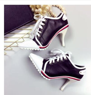 Women Pumps European High Heels 8.5CM Leather Casual  Candy Color Pointed Toe Women Shoes Bovine Skin With Rubber Singles Shoes
