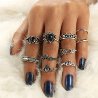 Women Punk Silver Boho Stack Plain Knuckle Ring Jewelry Finger Tip Rings Set Cocktail RING Gift Joint Ring for Women Jewelry