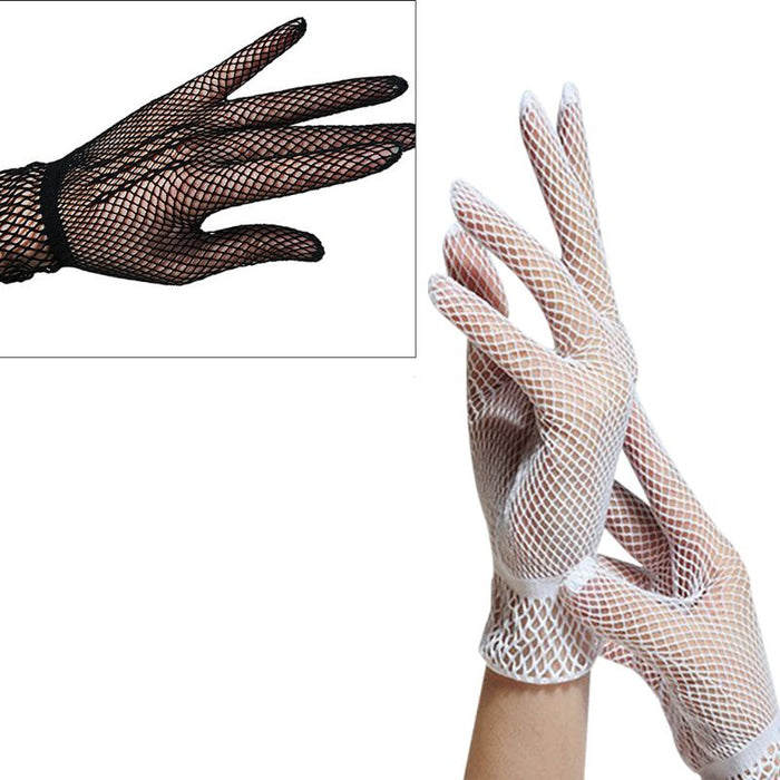 Women Sexy Hollow Out Fishnet Full Fingered Gloves Wrist Length