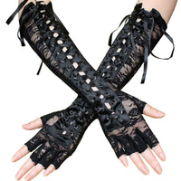 Women Sexy Lace Elbow Length Half-Finger Gloves Black String Ribbon