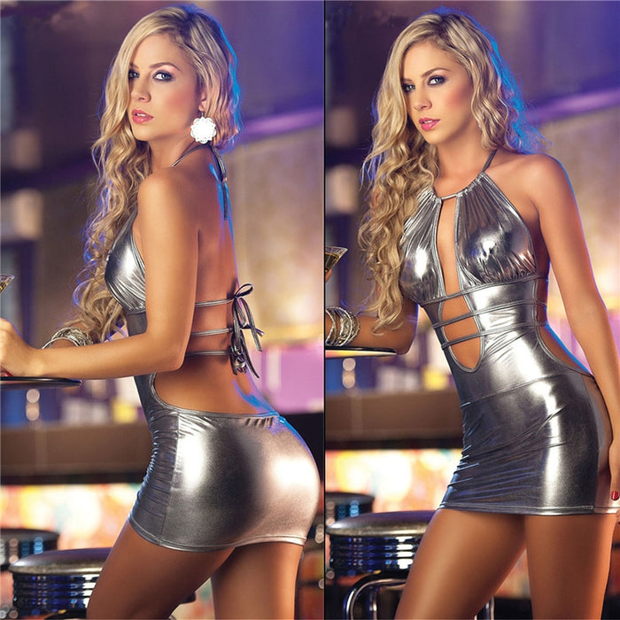Women Sexy Leather Mini Dress Female Sexy Nightwear Night Club Wear Pole Dancing Temptation Sexy Product Lady Stage uniform