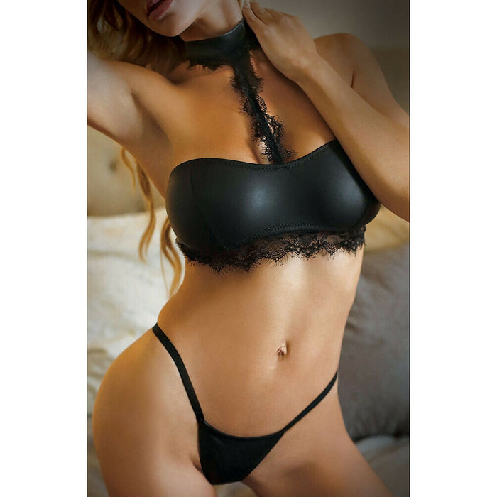 Women Sexy Lingerie Leather Lace Bra set Push up G-String Underwear Nightwear Ladies