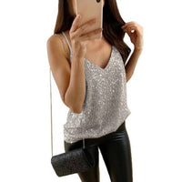 Women Sexy Tank Top Sequin Undershirt Shirt Blouse Streetwear Fashion Top  Torridity Tank Tops Clothing