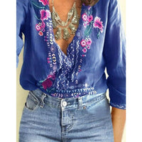 Women Shirts Embroidered Flowers Tee Deep V Neck Long Sleeve Shirts Top Blouse -MX8