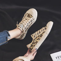 Women Shoes Leopard Spring Autumn Lace Up Flat Heel Lady Casual Shoe