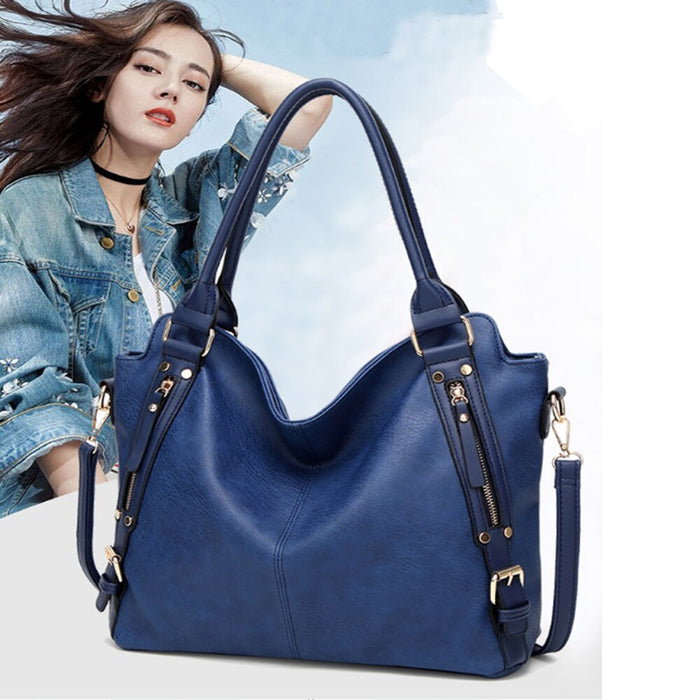 Women Shoulder Bags Cross-body Handbag Casual Women's Large Hobo Bag Solid Soft PU Leather Shopping Bag for Women